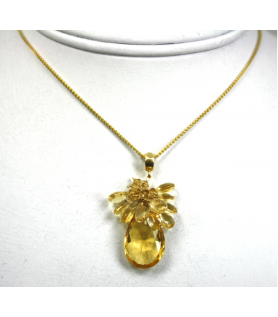 DEP032 - Citrine Beaded Pendant