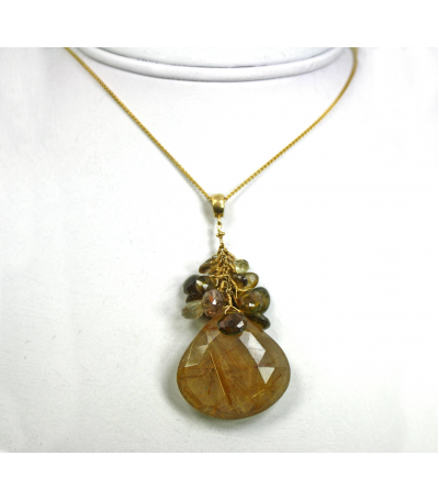 DEP034 - Rutilated Quartz, Tourmaline, Smokey Quartz Beaded Pendant