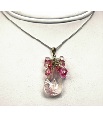 DEP046 - Rose Quartz, Pink Tourmaline Beaded Pendant