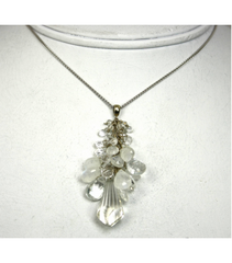 DEP048 - White Quartz, Moonstone Beaded Pendant
