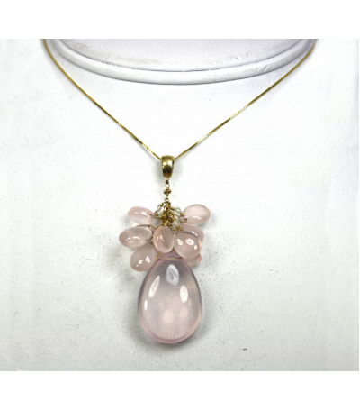 DEP050 - Rose Quartz Cabochon Beaded Pendant