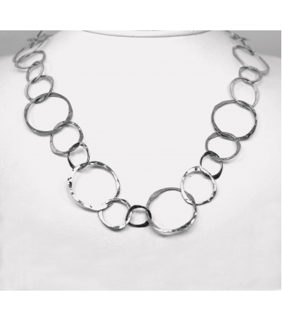 "LEHC016 - 14kt White Gold 29"" Hammered Chain"