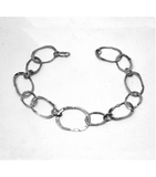 "LEHCB030 - 14kt White Gold 7.5"" Hammered Chain Bracelet"