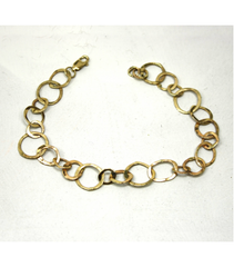 "LEHCB032 - 14kt Yellow Gold 8"" Hammered Chain Bracelet"