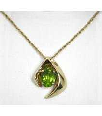 LEPS012 - 14kt Yellow Gold Peridot Gemstone Pendant