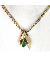 LEP018 - 14kt Yellow Gold Emerald Gemstone Pendant