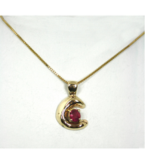LEP026 - 14kt Yellow Gold Ruby Gemstone Pendant