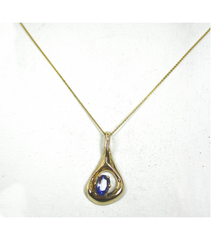 LEP032 - 14kt Yellow Gold Tanzanite Gemstone Pendant