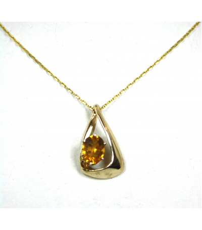 LEP034 - 14kt Yellow Gold Citrine Gemstone Pendant