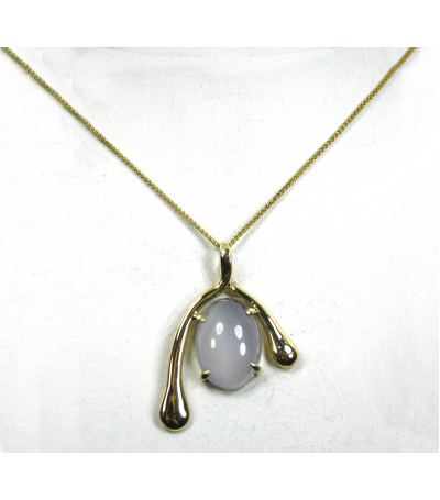 LEP040 - 14kt Yellow Gold Chalcedony Gemstone Pendant