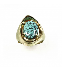 Z-LECS010 - 14kt Yellow Gold Turquoise Cabochon Ring