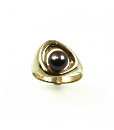 LECS020 - 14kt Yellow Gold Cultured Pearl Ring