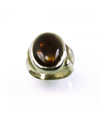 LECS022 - 14kt White Gold Fire Agate Cabochon Ring