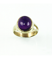 LECS028 - 14kt Yellow Gold Amethyst Cabochon Ring