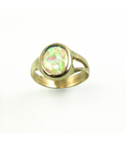 LECS034 - 14kt Yellow Gold Fire Opal Cabochon Ring