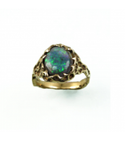 LECS042 - 14kt Yellow Gold Black Opal Cabochon Ring