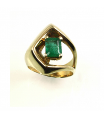 LERFS012 - 14kt Yellow Gold Emerald Cut Faceted Ring