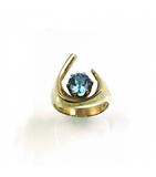 LERFS030 - 14kt Yellow Gold Blue Topaz Faceted Ring