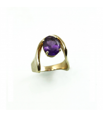 LERFS032 - 14kt Yellow Gold Amethyst Faceted Ring