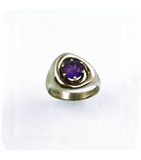 LERFS034 - 14kt White Gold Amethyst Faceted Ring