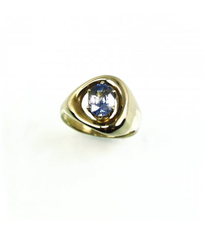 LERFS038 - 14kt Yellow Gold Sapphire Faceted Ring