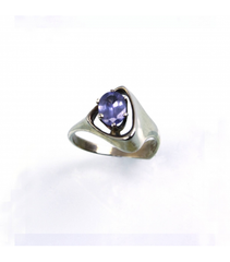 LERFS040 - 14kt White Gold Sapphire Faceted Ring