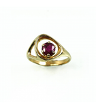 LERFS046-001 - 14kt Yellow Gold Ruby Faceted Ring