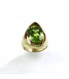 LERFS048 - 14kt Yellow Gold Peridot Faceted Ring