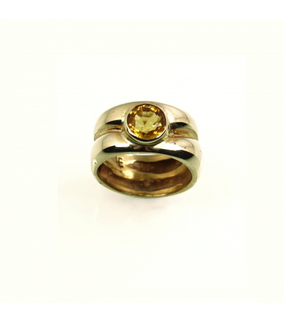 LERFS052 - 14kt Yellow Gold Citrine Faceted Ring