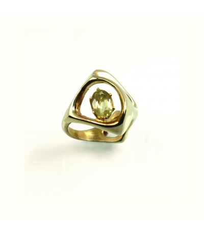 LERFS054 - 14kt Yellow Gold Citrine Faceted Ring