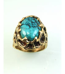 LERM010 - 14kt Yellow Gold Turquoise Mens Rings
