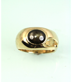 LERM016 - 14kt Yellow Gold Black Star Sapphire Mens Ring