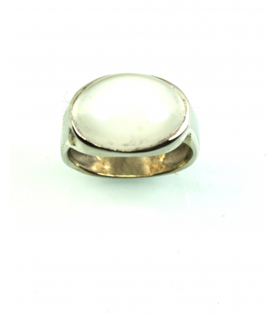 LERM020 - 14kt White Gold Moonstone Mens Ring