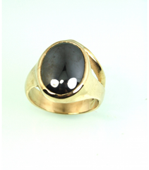 LERM022 - 14kt Yellow Gold Hematite Mens Ring