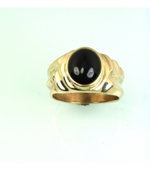 LERM024 - 14kt Yellow Gold Onyx Mens Ring