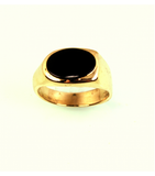 LERM026 - 14kt Yellow Gold Onyx Mens Ring