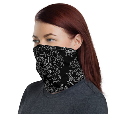 Black and White TK Neck Gaiter