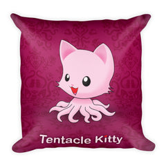 Tentacle Kitty Square Pillow