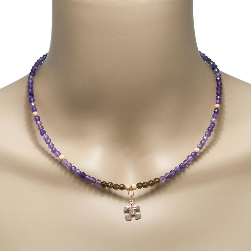 Handmade Gemstone Necklace Amethyst - Anthos Crafts