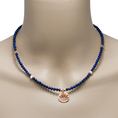 Handmade Gemstone Rose Gold Plated Silver Necklace Lapis Lazuli - Anthos Crafts