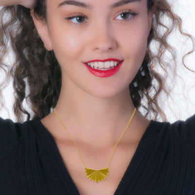 Handmade Gold Plated Silver Geometric Fold Short Necklace - Anthos Crafts