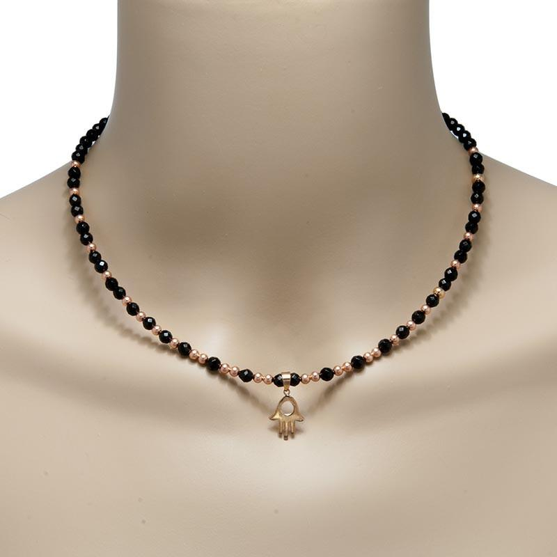 Handmade Gemstone Necklace Black Agate - Anthos Crafts