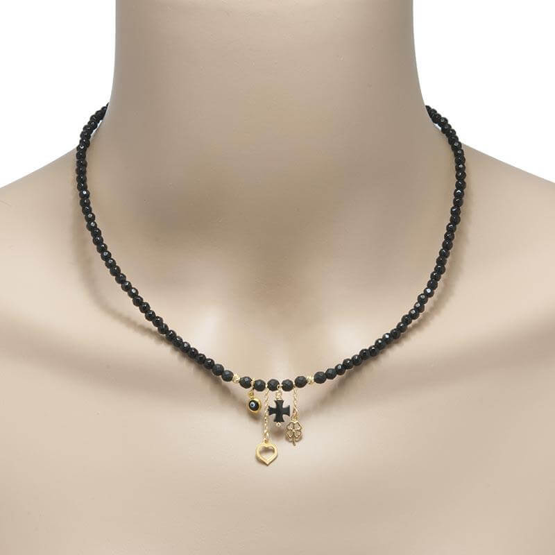Handmade Black Agate Necklace - Anthos Crafts