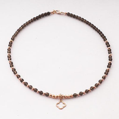 Handmade Gemstone Necklace Smoky Quartz - Anthos Crafts