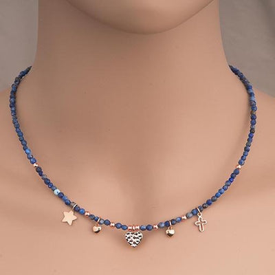 Handmade Gemstone Necklace 3mm Lapis Lazuli - Anthos Crafts
