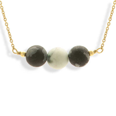 Handmade Short Gold Plated Chain Necklace With Obsidien & Howlite Gemstones - Anthos Crafts