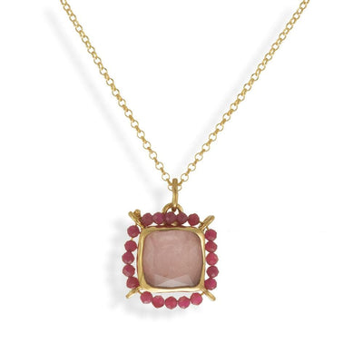 Handmade Short Gold Plated Chain Necklace With Quartz & Rhodochrosite Gemstones - Anthos Crafts