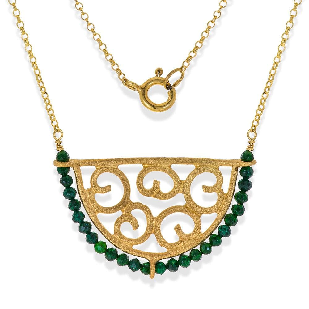 Handmade Short Gold Plated Silver Chain Necklace With Green Quartz Gemstones - Anthos Crafts