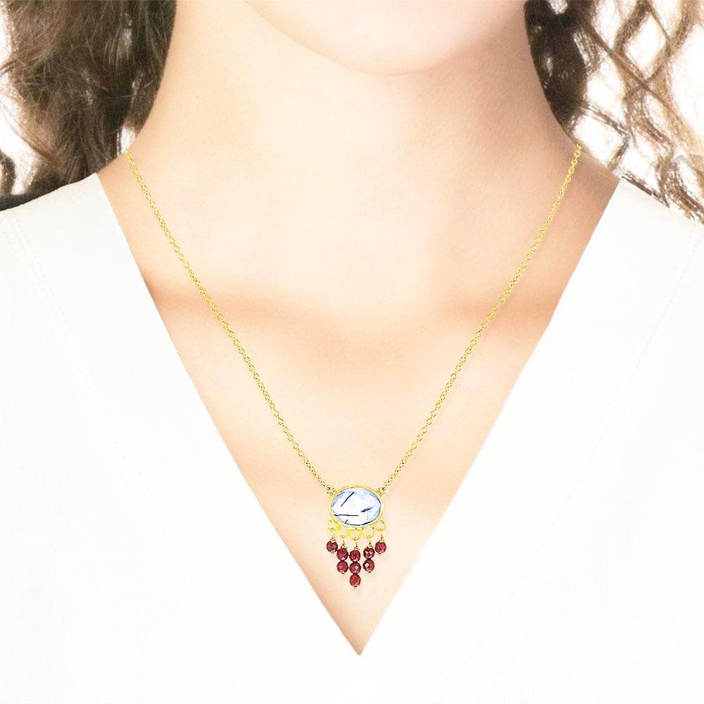 Handmade Short Gold Plated Silver Chain Necklace With Tourmaline & Garnet Gemstones - Anthos Crafts