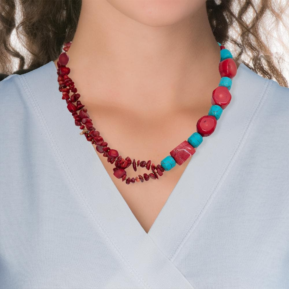 Handmade Short Necklace With Coral & Howlite Gemstones - Anthos Crafts